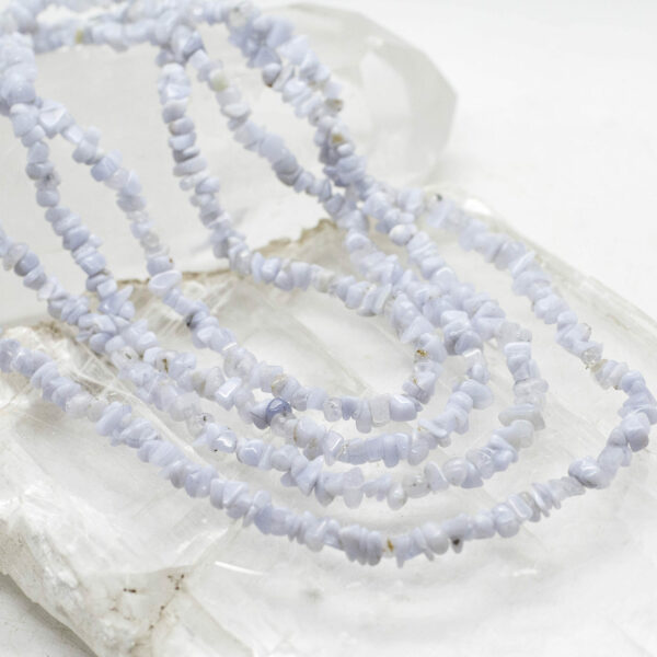 Blue Lace Agate Chip Bead Necklace