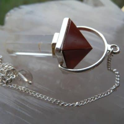 Quartz & Red Jasper Pendulum -0