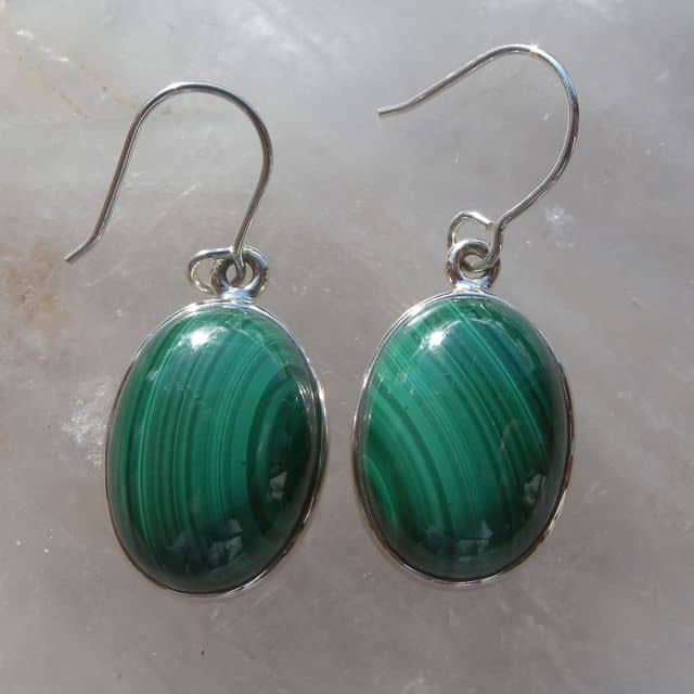 Malachite Earrings front view