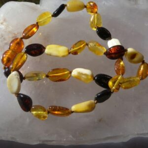 Oval Multi Colour Amber Theething Necklace-0