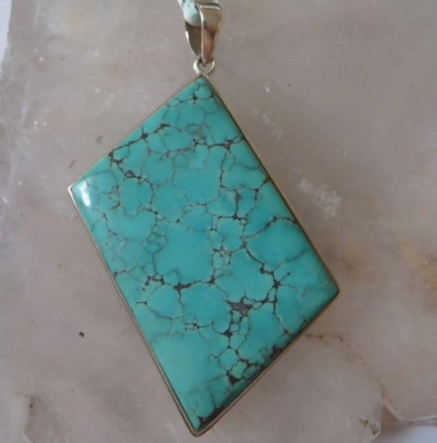 Turquoise Diamond Shaped Pendant-0