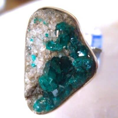 Dioptase Crystal Ring-0