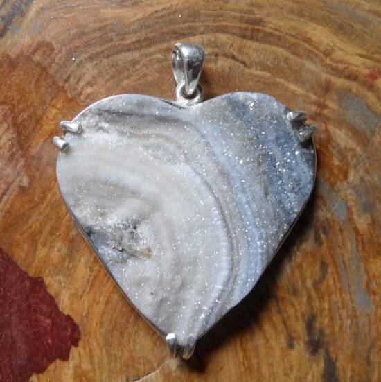 Drusy Agate Heart-0