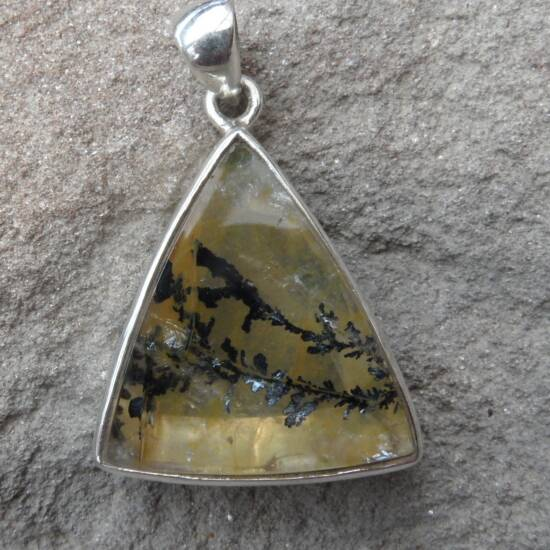 Dendritic Quartz Triangular Pendant-0