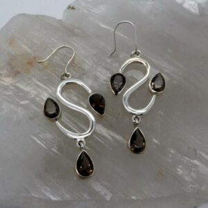 Smokey Quartz 3 Stone Earrings-0