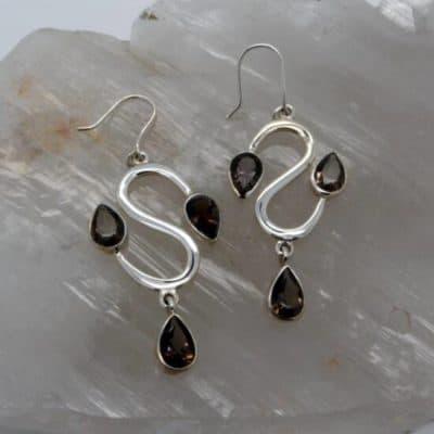Smokey Quartz 3 Stone Earrings-0