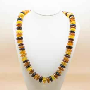Cognac Baltic Amber Factetd Necklace