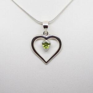 Peridot Heart Pendant 2