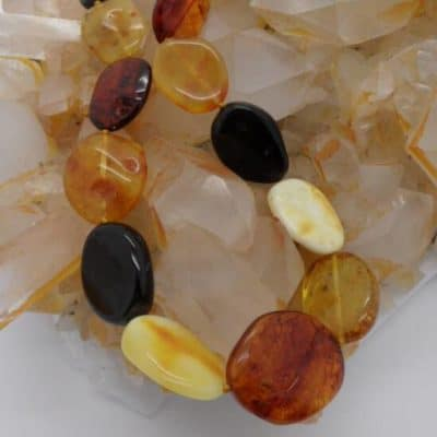Multi Colour Flat Bead Amber Neckalce-0