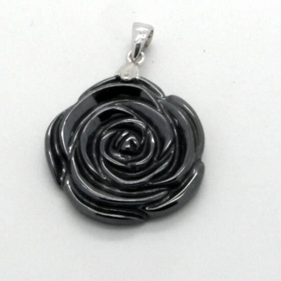 Hematite Rose Pendant