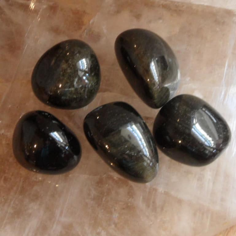 Gold Sheen Obsidian Tumbled Stones