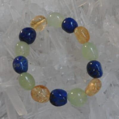Prehnite, Lapis Lazuli & Citrine Bead Bracelet
