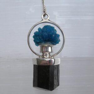 Black Tourmaline and Cavansite Pendulum