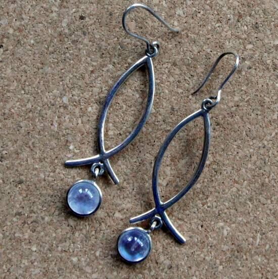 Moonstone Wishbone Earrings