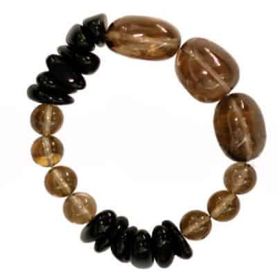 Black Obsidian & Smokey Quartz Bracelet