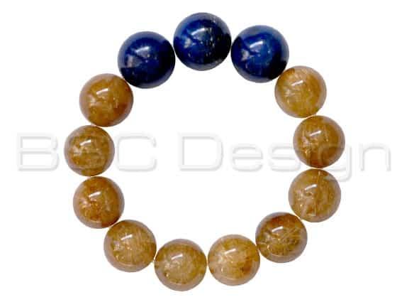 Lapis Lazuli & Rutilated Quartz Bracelet