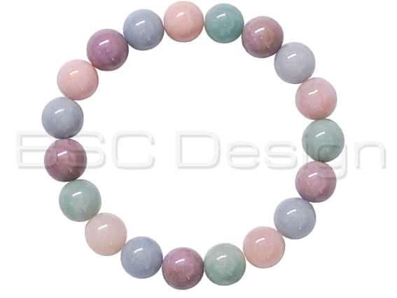 Phosphosiderite, Angelite, Amazonite, Pink Opal Bracelet