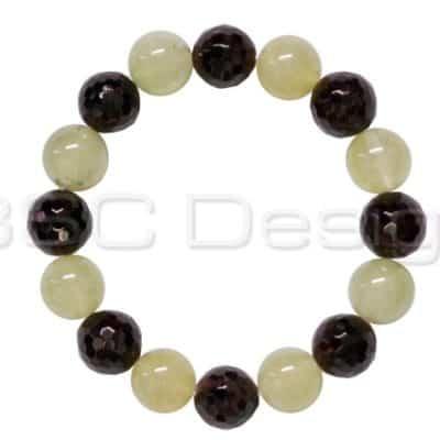 Prehnite & Faceted Garnet Bead Bracelet