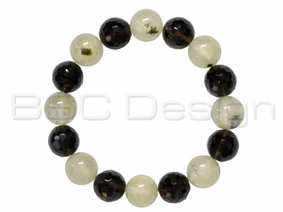 Prehnite & Faceted Smokey Quartz Bead Bracelet
