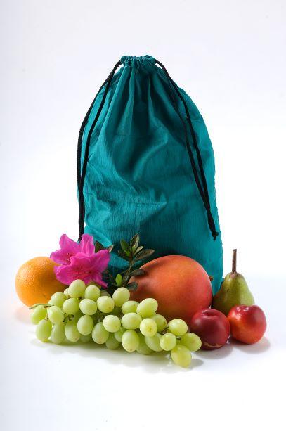 EcoSilk Shopping Bag Fruit and Vegie bag emerald with fruit