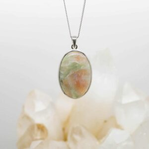Green Apophyllite and Stilbite Pendant front hanging