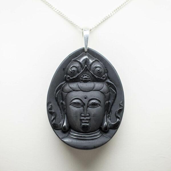 Black Obsidian Kwan Yin Pendant