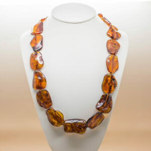 Cognac Amber Flat Bead Necklace