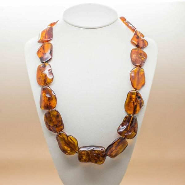 Cognac Amber Flat Bead Necklace