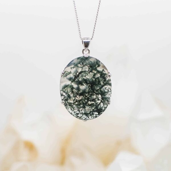 Moss Agate Faceted pendant (1)