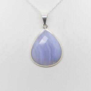 Blue Lace Agate Faceted Pendant (1)