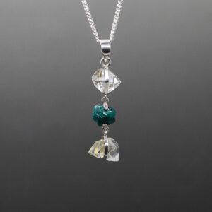 Herkimer Diamond Dioptase Pendant 1