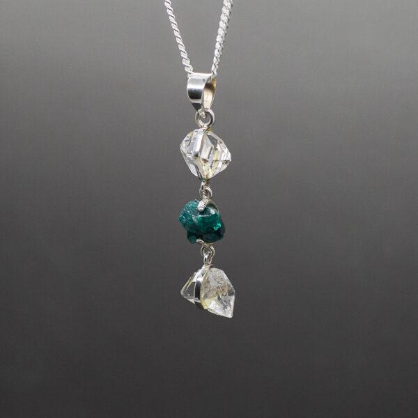 Herkimer Diamond Dioptase Pendant 2
